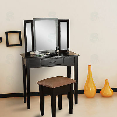 White Dressing Table Vanity Makeup Desk with 1 Drawer, 3 Mirror Set and Stool