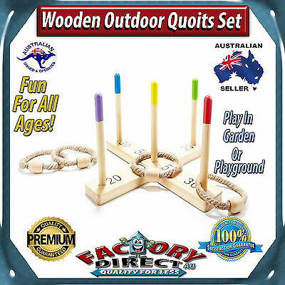 NEW! Wooden Outdoor Quoits Rope Play Set Fun For Kids Old Fashioned Tossing Game