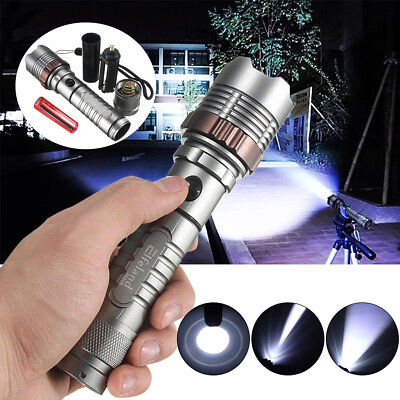 8000Lm T6 LED Lampe de Poche Zoomable Torche Militaire 18650 Flashlight Camping