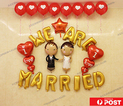 16 inch Foil Balloon Love Heart Couple We are Married Wedding Party Decoration
