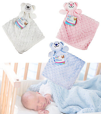 Baby Boy Girl Teddy Bear Comfort Blanket Soft Toy Comforter Pink Blue Cream Gift