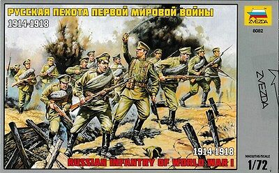 Russian toy soldiers. Zvezda. 8082 Russian infantry of WW I. 1/72 scale.