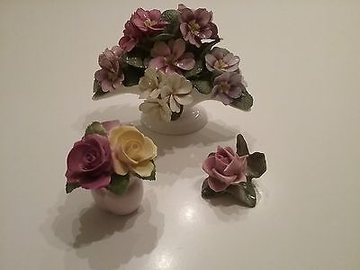 Vintage Lot Of 3 China Floral Miniature Objects Adderley Staffs Dresden, Lovely