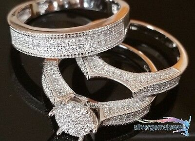 Unique Set! Diamond Trio His Hers Matching Engagement Ring Wedding Band 10K