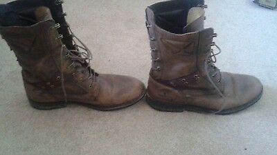 Mens brown leather boots size 8