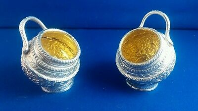 Rare Pair Persian Indian Islamic Sterling Solid Silver Mustard Salt Pots Gilt