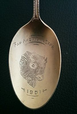 Sterling Silver Souvenir Spoon, PAN AMERICAN EXPO, 1901, 13.6g, Manchester MFG