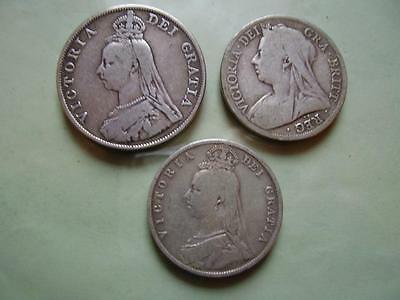 1889 Victoria Double-florin & Half crown + 1895 Half crown All collectable (3)