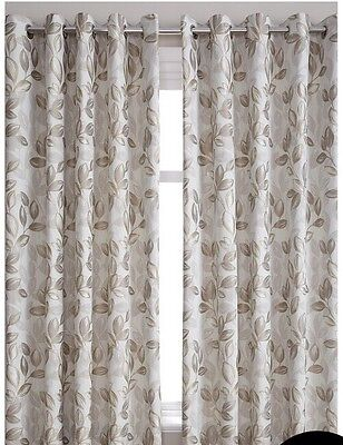 90x72 Ringtop Eyelet Luxurious Jacquard Curtains  Natural Fully Lined