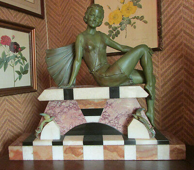 Grande Statue Art Deco Femme Pin-Up Signe Balleste Statuette Baigneuse Regule