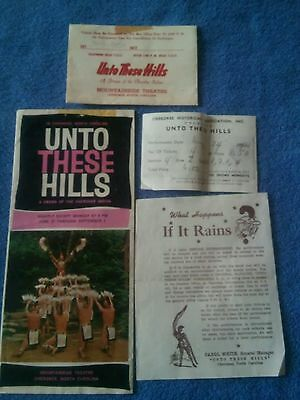 CHEROKEE DRAMA -1961@ UNTO THESE HILLS MOUNTAINSIDE THEATRE PAMPHLET w/tic + VNC