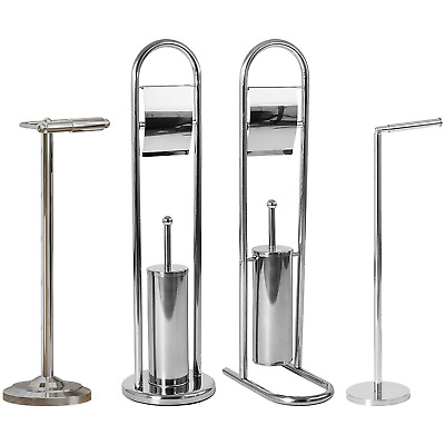 Toilet Paper Holder Stainless Steel Bathroom Floor Standing Tissue Roll Storage