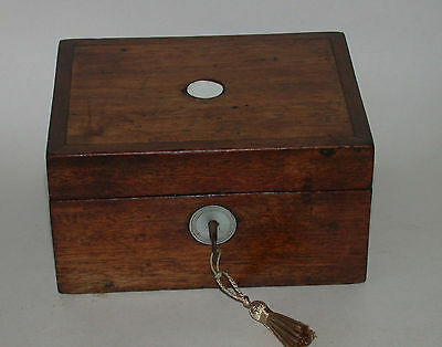 Small Antique Solid Mahogany Sewing Box Trinket Box With Working Key