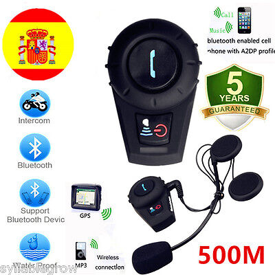 BT 500M Bluetooth Moto Casco Intercomunicador Radio Auriculares Interfono FM ES