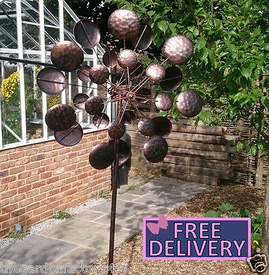 Galaxy Large Wind Spinner Sculpture 70cm Wide 205cm High Burnished Copper Gold
