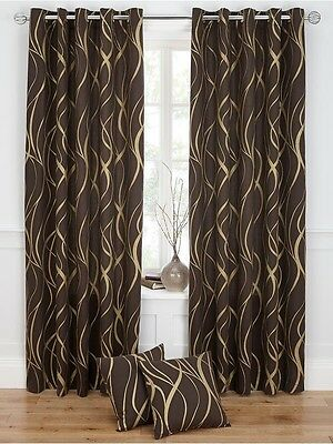 66x90 Ringtop Eyelet Metallic Swirl Curtains Chocolate Gold Fully Lined