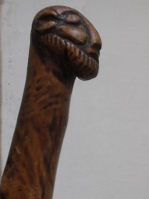 Judaica wooden walking stick antique carved Anti Semitic Middle East (mo)