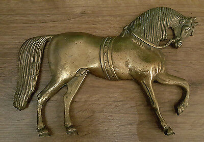 vintage brass horse finial plaque