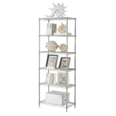 Commercial 6 Tier Layer Shelf Adjustable Wire Metal Shelving Storage Rack Silver