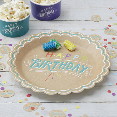 Pack of 8 Happy Birthday Paper Plates for Parties