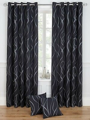 46x72 Ringtop Eyelet Curtains Fully Lined Black Silver Metallic Swirl