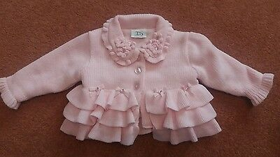 Dani pink baby girl's knitted jacket age 12 months. Beautiful and immaculate.