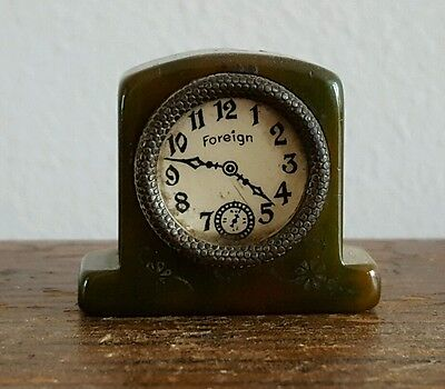 Art Deco Green Catalin / Bakelite Clock Pencil Sharpener - Rare