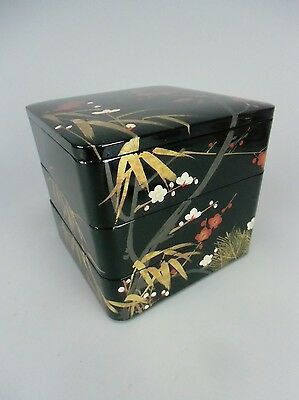 JB11 Japanese Bento Box 3 tiered Lacquer Wood Hand painted Gold Lucky Vtg Jubako