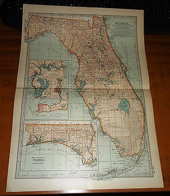 FLORIDA America - USA -  ADAM & CHARLES Antique Map 1903