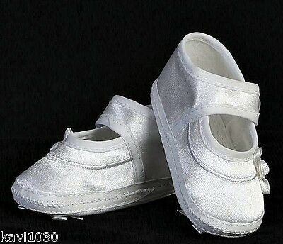 Baby Girls White Christening Shoes Mary Jane Satin Bootie Bow On Sole Size 0-18M