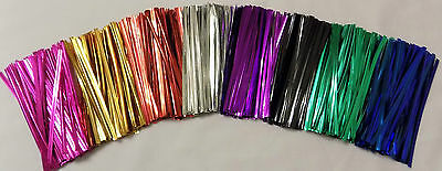 "Metallic Twist ties 4"" (10cm) Choice 8 Colours or Mixed Lot Ideal Sweet Bags"