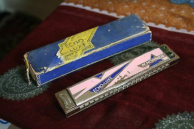 M. Hohner's Echo-luxe harmonica mouth organ in case German made vintage retro