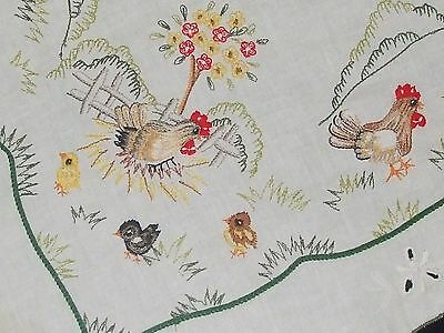Easter colorful spring tablecloth cock and hens, chicks