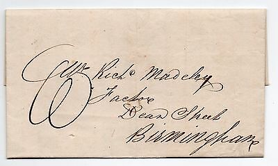 Irate letter 1839 entire Crewkerne Somerset - Birmingham with manuscript charge
