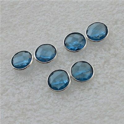 925 Solid Sterling Silver Wholesale 3 Pair Faceted Iolite Studd Earring Lot
