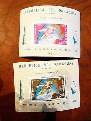 Weltraum SPACE  Paraguay **  Gemini 4  White  A + B imperf  - 1966