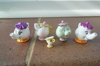 Disney Beauty and The Beast Teapot and cup Plastic Miniature Figures Superb!