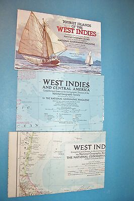 Vintage National Geographic Maps - West Indies And Central America