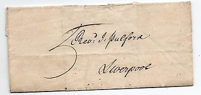 1829 single page small letter from Chester to Liverpool with manuscript 5 rate.