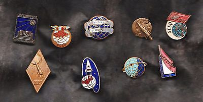 Lot of  9 USSR Soviet space lapel pins/Badges cosmos old original_SPACE