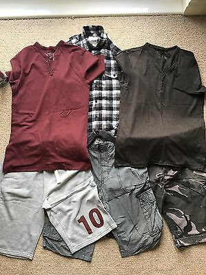 Men's New Look Bundle Shorts, T-Shirts And Shirt Mostly Size S