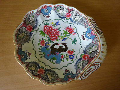 19c ENGLISH PORCELAIN SHELL SHAPE DESSERT DISH WITH EXOTIC BIRDS - SPODE/DERBY