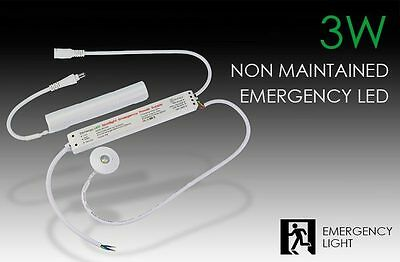 3W LED Non-Maintained Emergency Downlight Light / Safety Light, New, 285lms