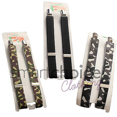 Childrens Boys Braces Army Camouflage Design High Quality Different Colours