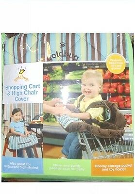 Goldbug Shopping Cart Highchair Cover Brown Baby Stripes with Blue White Yellow