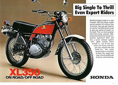 1976 HONDA XL350K2 Trail 2 page Motorcycle Brochure NCS