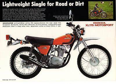 1973 HONDA XL175  TRAIL Motorcycle Brochure NOS