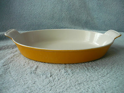 Le Creuset 24 Yellow Mustard Cast Iron Enameled Oval Gratin Dish Casserole