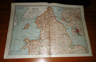 ENGLAND AND WALES Northern Part -  ADAM & CHARLES Antique Map 1903