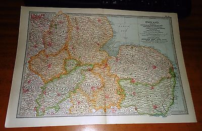 ENGLAND Nottinghamshire LEICESTER Rutland -  ADAM & CHARLES Antique Map 1903